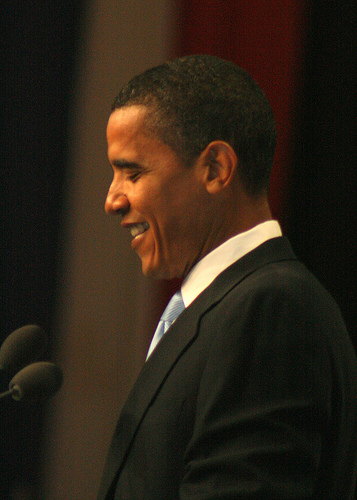 A distinctly modest looking Obama, back in July 2007 (flickr user: Llima)