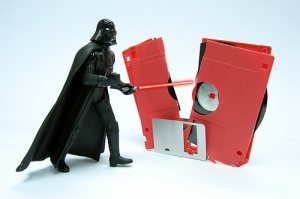 Darth Vader chops a floppy disk in half