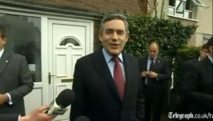 Gordon Brown smiles outside Gillian Duffy's Rochdale house after bigotgate
