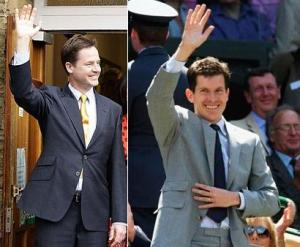 Liberal Democrat Leader Nick Clegg and British Tennis Player Tim Henman