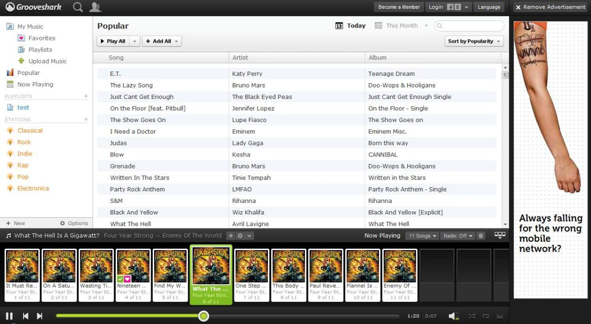 grooveshark, spotify rival, music player