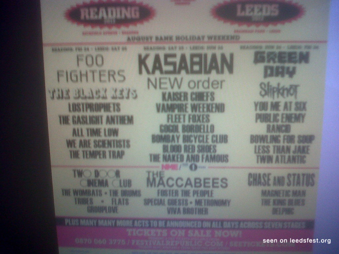 2012 Reading and Leeds Line-up leaked